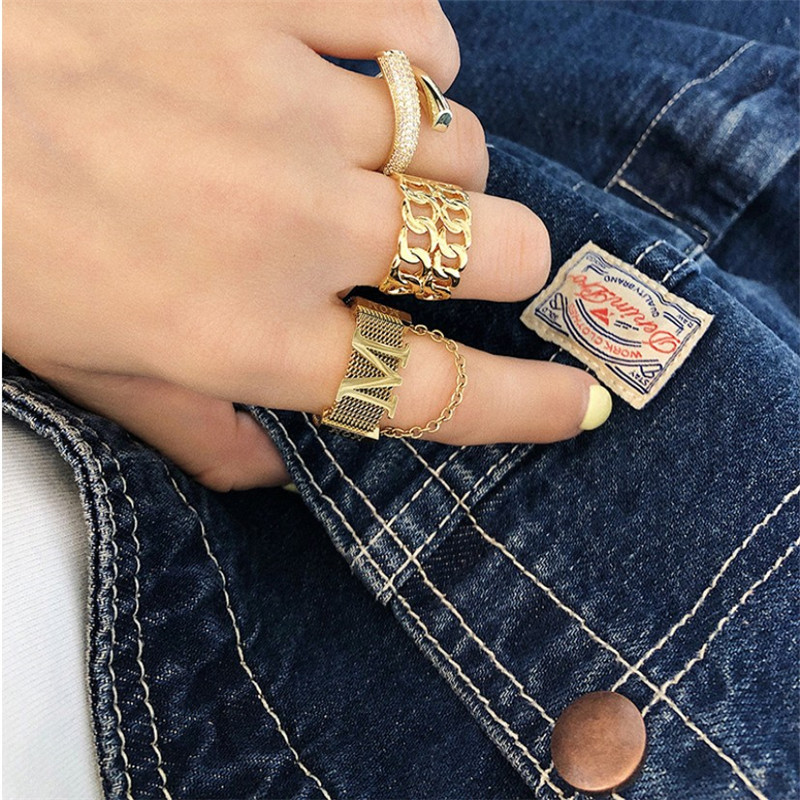 fashion personality ring letter chain micro-set open ring index finger ring wholesale nihaojewelry NHYQ220121