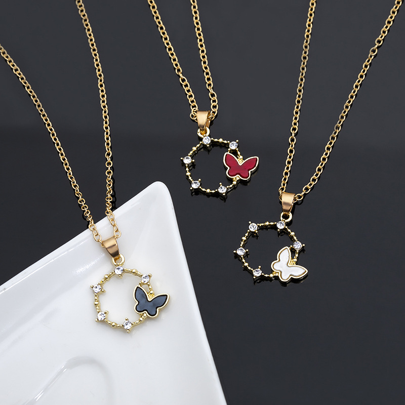 new simple geometric circle butterfly womens alloy pendant clavicle chain wild necklace NHMO248488