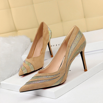 998-10 in Europe and the sexy party show thin nightclubs with suede high heels for women's shoes heel stitching single d