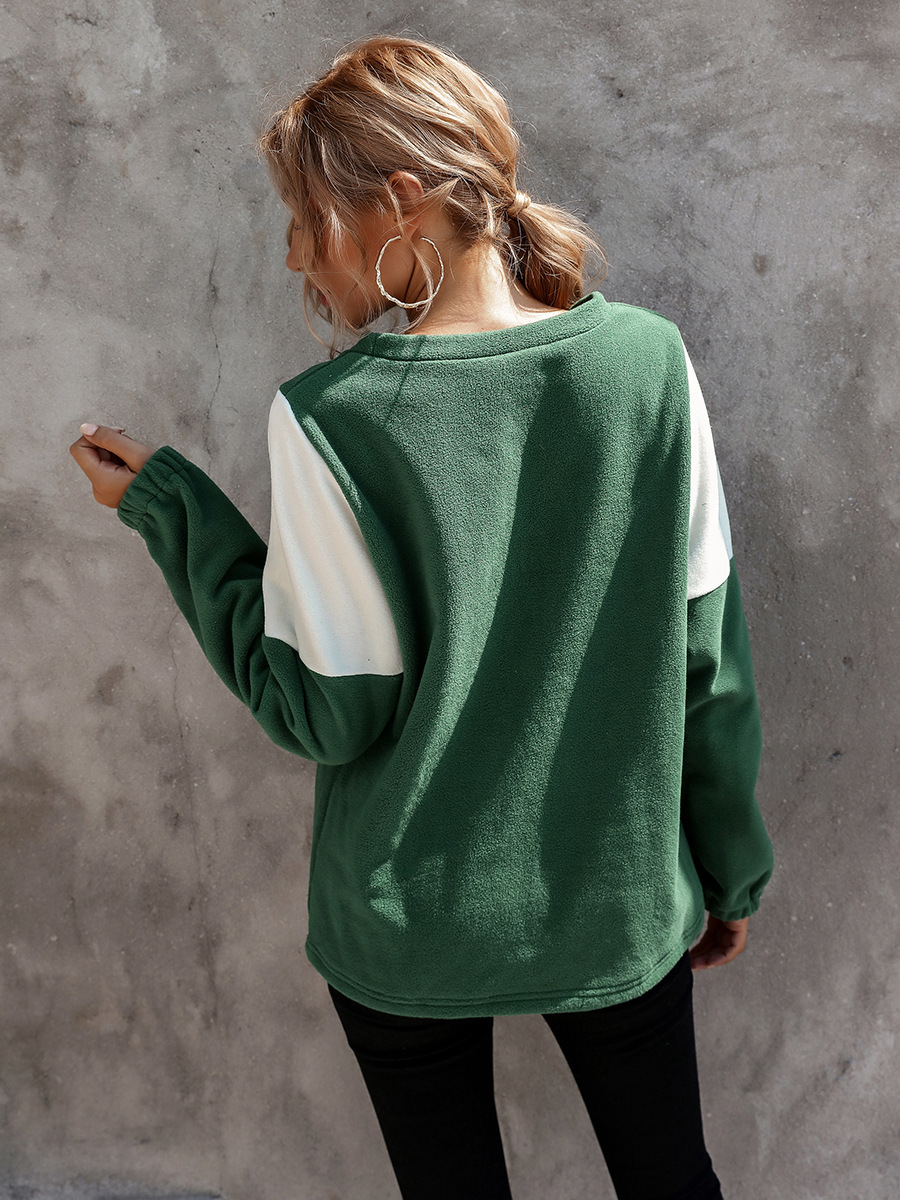 hot-selling autumn and winter women's contrast V-shaped round neck pullover sweater  NSAL1915