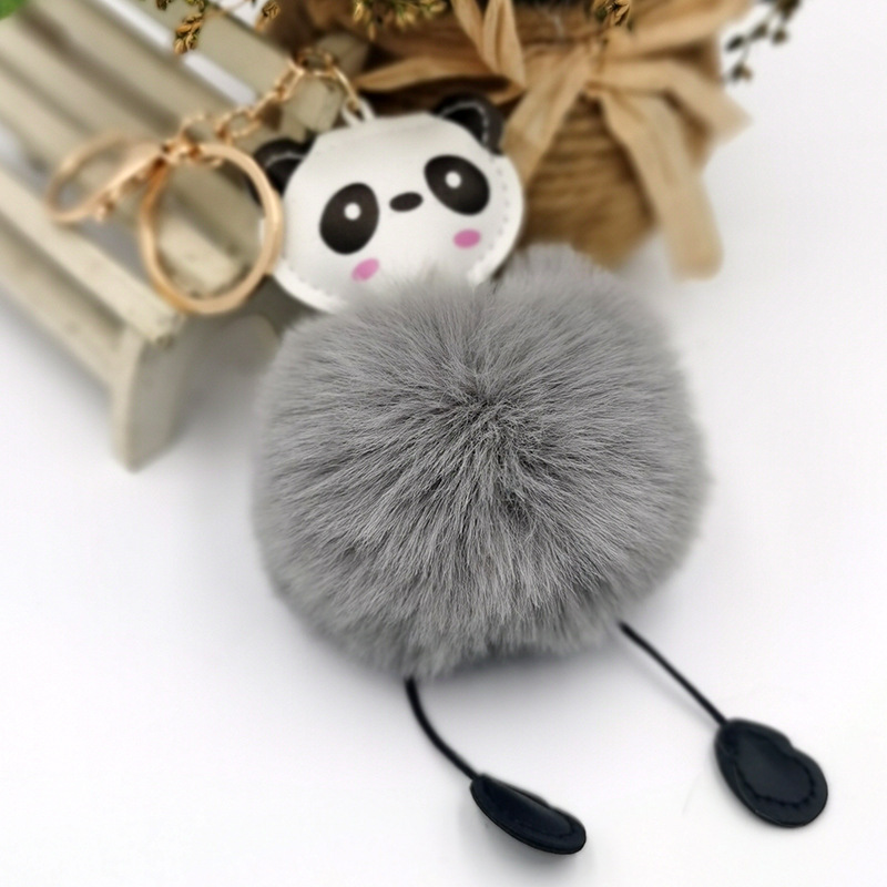 PU leather panda fur ball keychain imitation rex rabbit fur fashion Christmas gift pendant NHDI269445