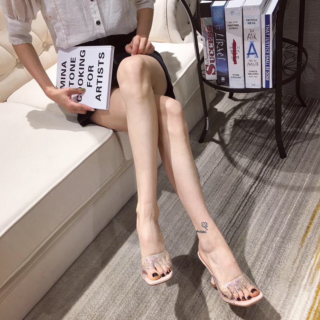 Fashion transparent high-heeled slippers women summer new open-toed stiletto sandals flip flops 35-41 yards NHEH206276