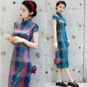 Chinese Dress Qipao for women cheongsam retro long Plaid cheongsam standing collar large size cheongsam cheongsam