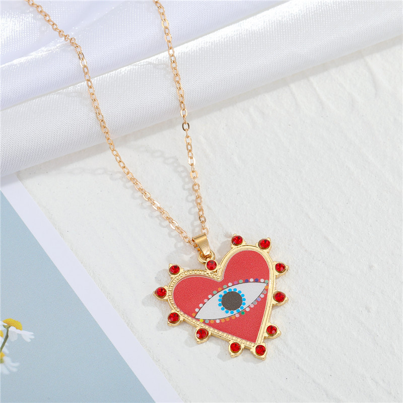 Fashion Red Heart Heart-shaped Lucky Devils Eye Pattern Necklace