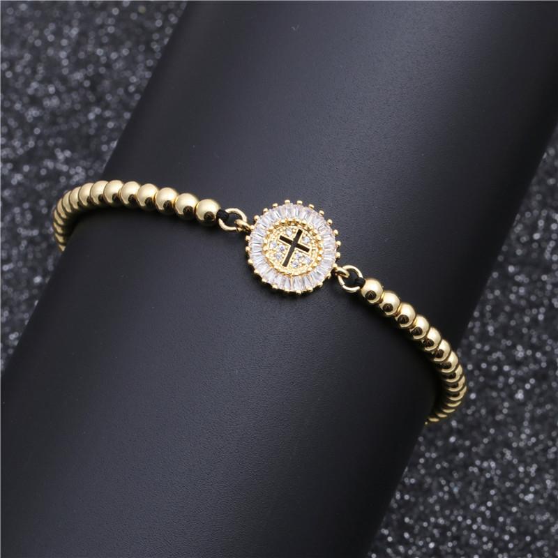 fashion jewelry copper micro-set white zirconium cross bracelet adjustable Valentine's Day gift wholesale nihaojewelry NHYL234194