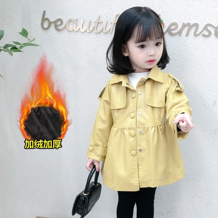 2020秋冬新款时尚翻领长款加绒加厚皮衣中小女童保暖外套一件代发