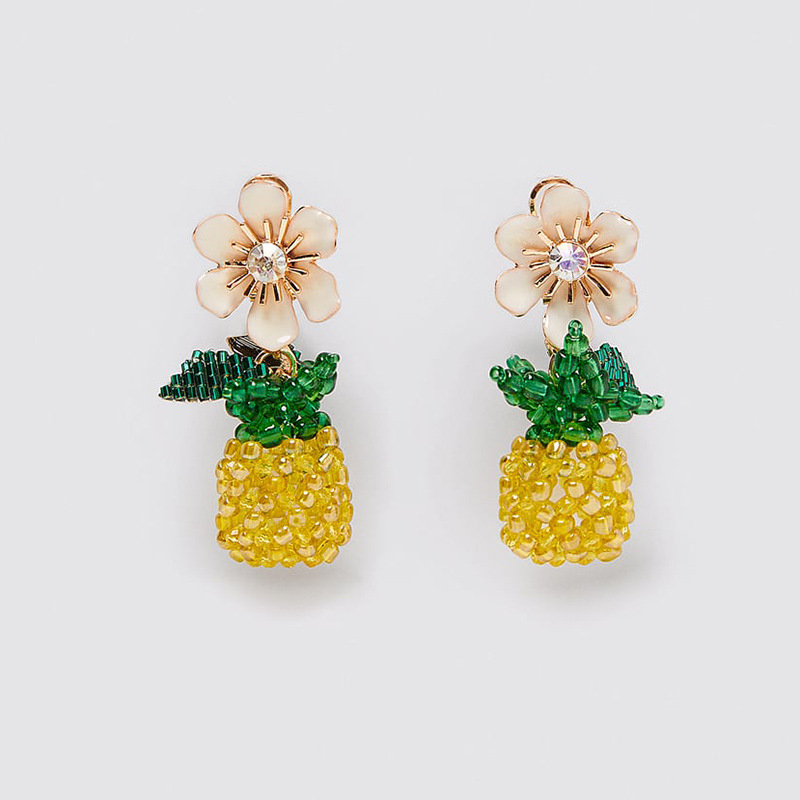 New exaggerated handmade rice beads cherry pineapple earrings creative cute fruit acrylic earrings NHLA205868