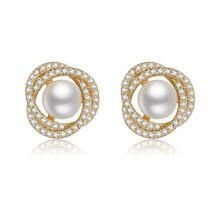 2020新款s925纯银珍珠锆石耳钉女 气质韩国简约风小饰品耳环耳饰