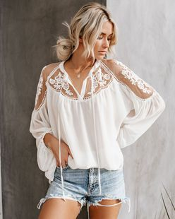 Cross-border AliExpress new solid color chiffon shirt ladies shirt European and American large size loose V-neck sexy lace shirt