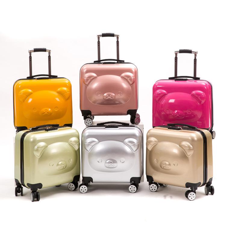 小熊行李箱可爱万向轮儿童拉杆箱小熊卡通拉杆箱20寸登机箱印制