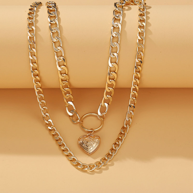 New retro Loveshaped Alloy Double Clavicle Chain alloy Pendant Necklace  NHPJ243337