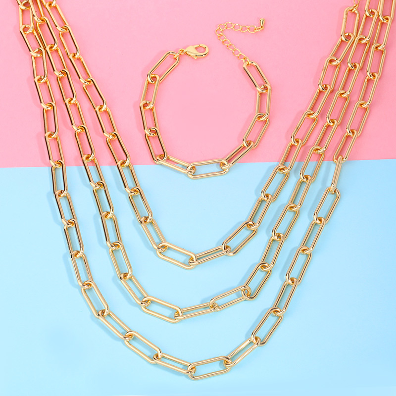 fashion hip-hop accessories HIPHOP Cuban chain gold necklace choker thick chain necklace wholesale nihaojewelry NHAS225368