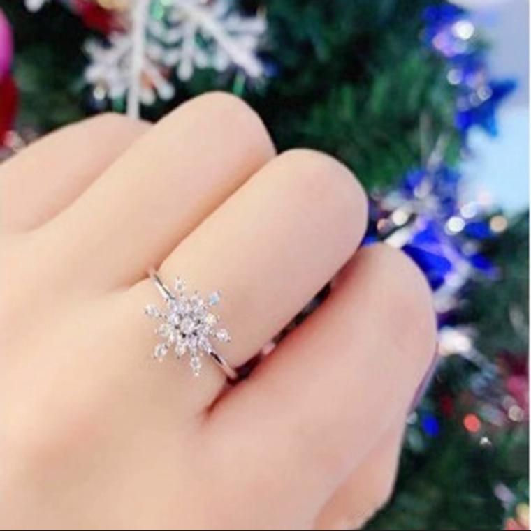 Sterling Silver Snowflake Rotating Ring