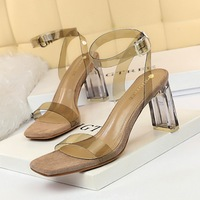 612-1 Korean fashion crystal heel, thick heel, square head, open toe, transparent one word sandal with belt buckle