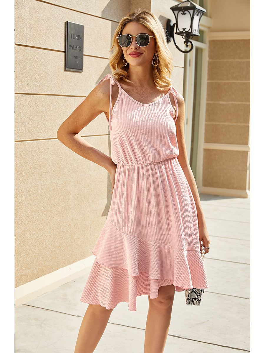 Irregular Sling Pure Color Casual Dress NSAL2141