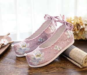 Inner increase lotus embroidered hanfu fairy cloth shoes for women  girl princess cosplay shoes Bow shoes Hanfu shoes Lace-up shoes