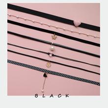 日韩饰品黑色超仙女颈带日系软妹风珍珠吊坠项圈Choker颈链项链女