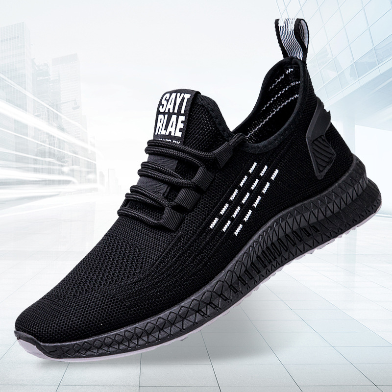 2020 Spring New Sports Shoes Breathable Mesh Wear Men's Running Lightweight Flat Fly Knitting Leisure Men's Shoes