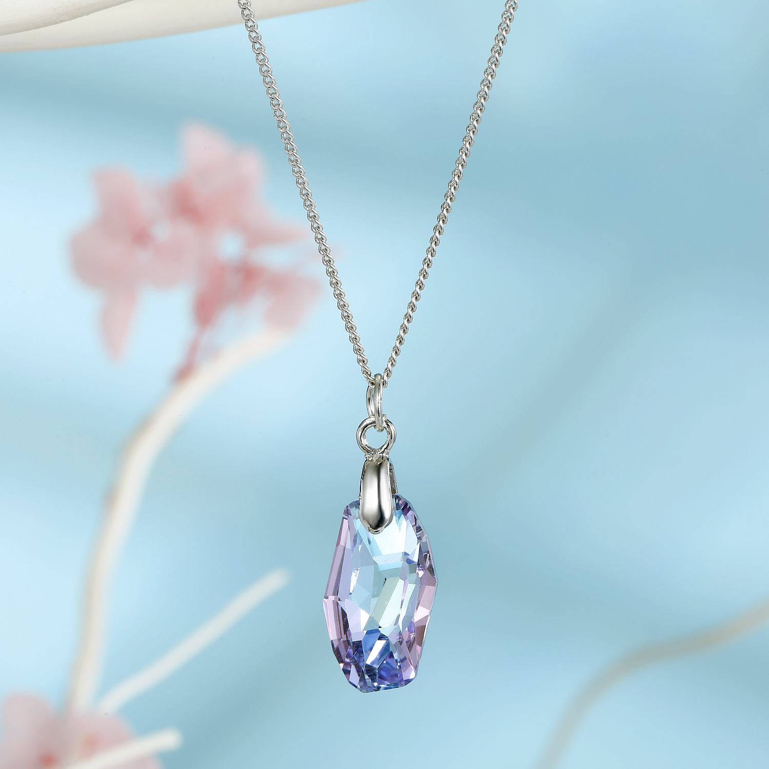 Jewelry ladies necklace imitation zircon necklace meteor crystal pendant clavicle chain NHGO202974