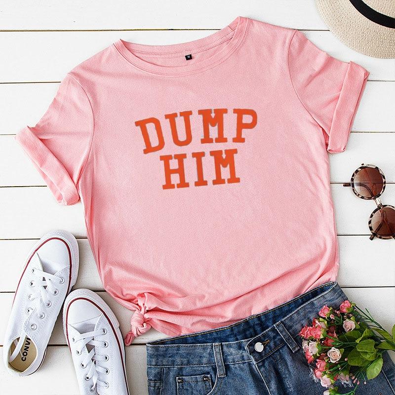 速卖通 亚马逊热卖字母DUMP HIM 印T恤女士短袖宽松上衣