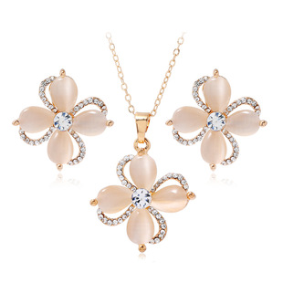 Cross-border e-commerce Amazon etsy new opal necklace earrings set European and American jewelry set jewelry