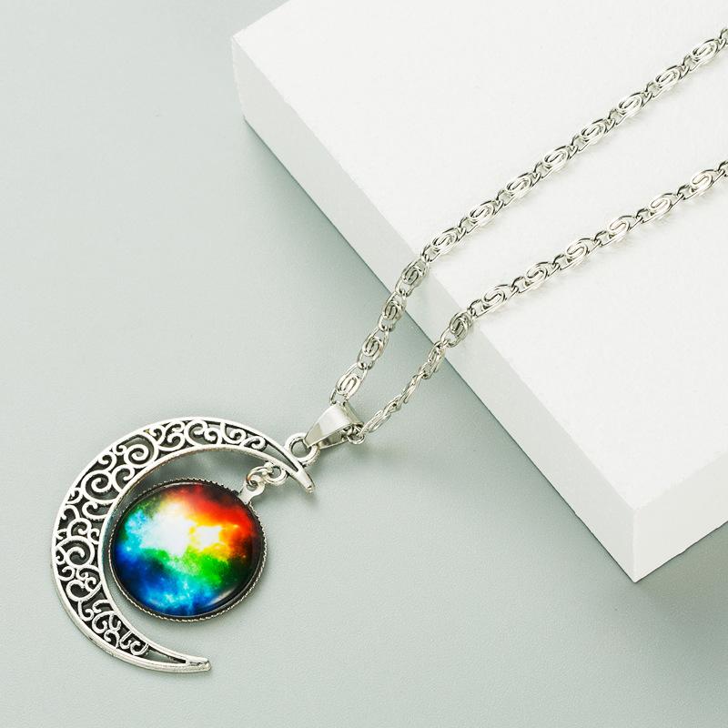 moon galaxy starry sky gemstone necklace  NHLN275655