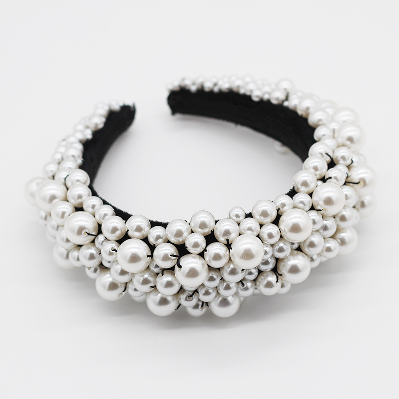 New fashion temperament exaggerated sponge pearl ball headband personality  party hair accessories nihaojewely wholesale NHWJ216164