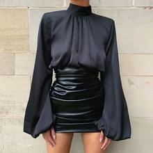 ins欧美风外贸跨境热卖2020秋冬性感修身纯色抽褶不规则PU短裙女