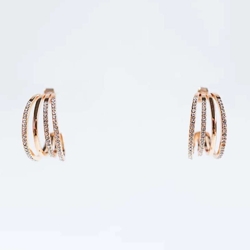Fashion trend geometric C-shaped exquisite point diamond trend multi-layer earring jewelry NHLA260012