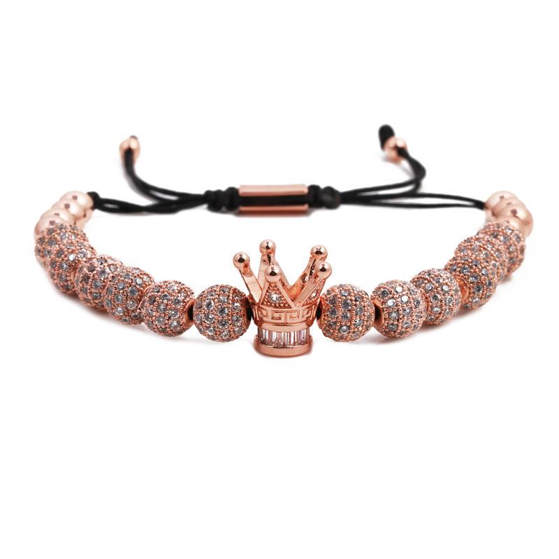 Fashion diamond ball micro inlaid large crown woven bracelet NHYL199481