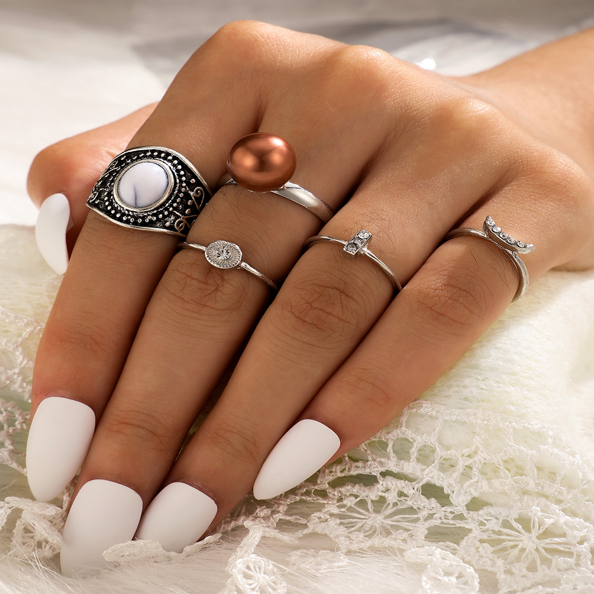 Hot selling retro turquoise ring diamond-studded pearl joint ring 5-piece set NHGY257476