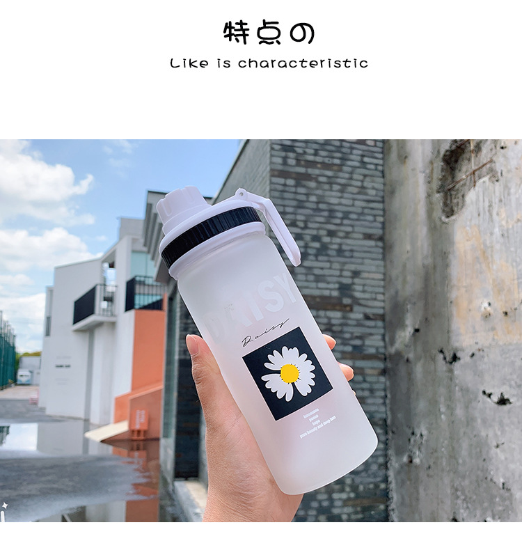 Han simple daisy printing frosted glass water cup portable handle student sports cup large capacity cup NHtn208078