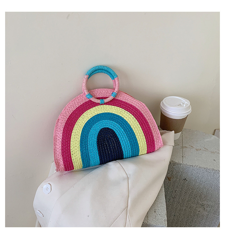 fashion new colorful woven small bags female  popular new wave Korean fashion hit color wild  portable beach bag nihaojewelry wholesale NHTC223113