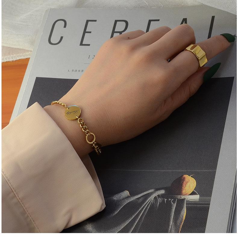 Mode lettres de mare bonne chance longue marque bracelet de couleur en acier titane fait  la main NHOK263928