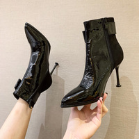 8086-7 sexy pointed high-heeled boots in Europe and America show thin elastic paint Martin boots fine with single boots fashion female boots