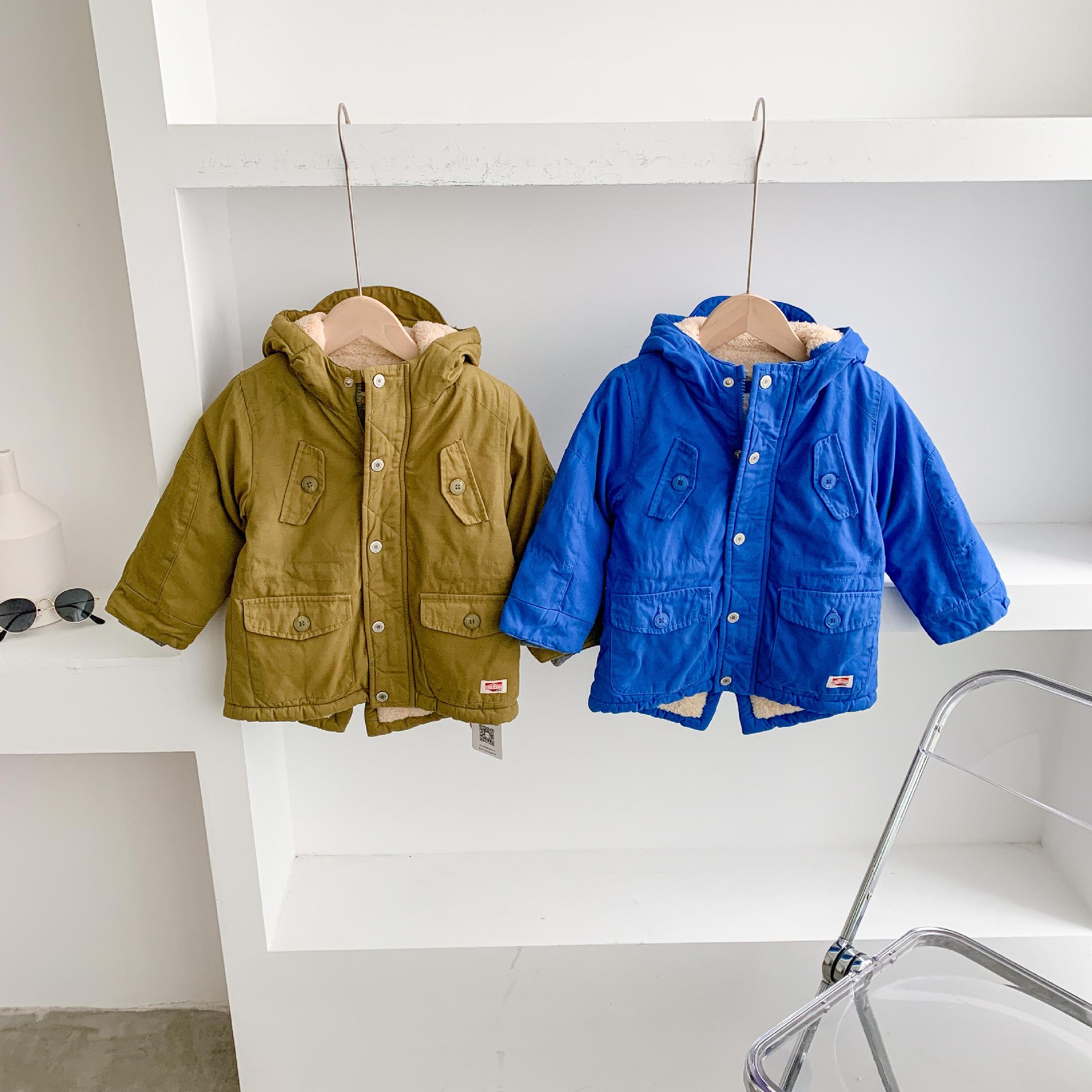 儿童棉衣特价清仓纯棉加绒加厚中长款连帽中小童宝宝冬季外套