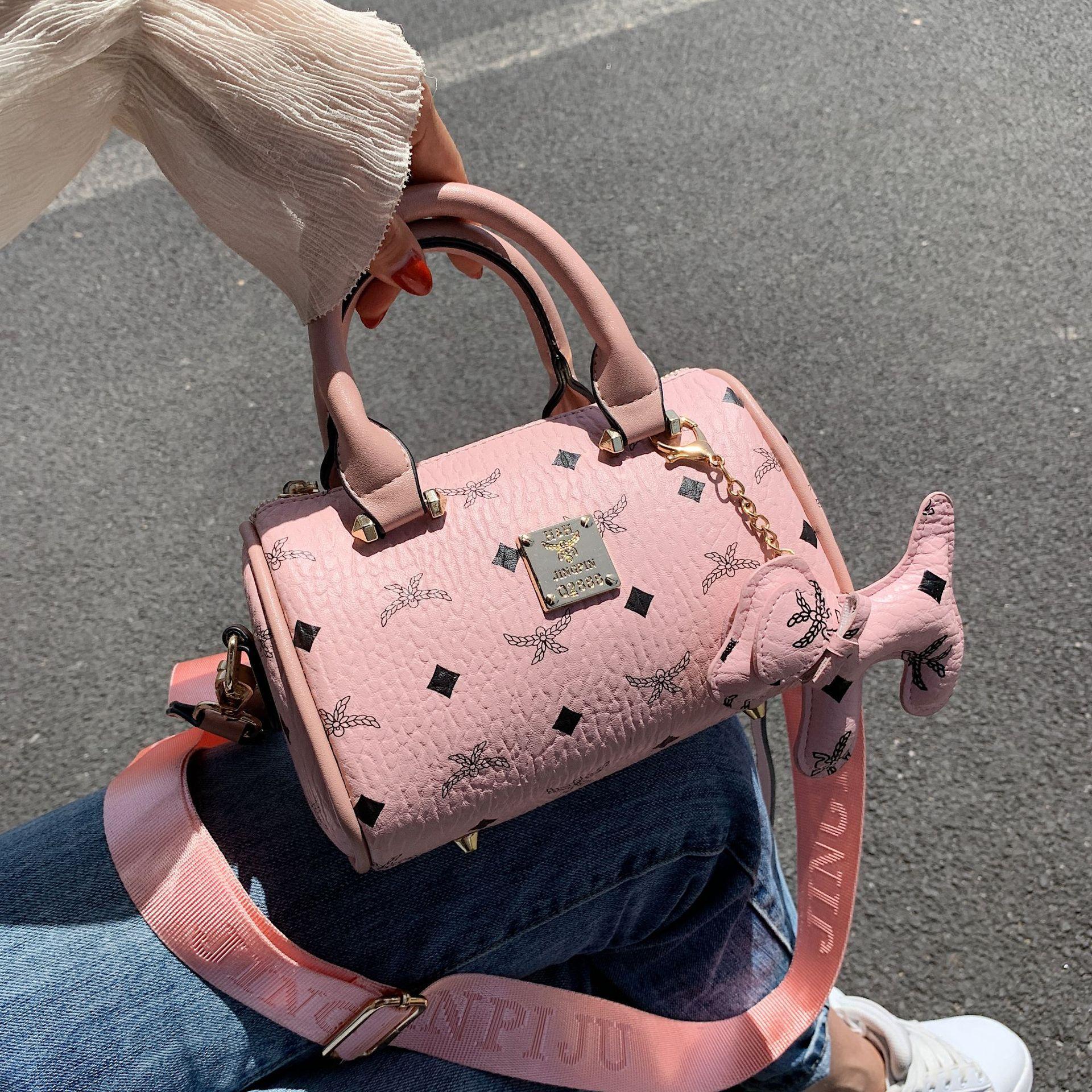 包包女包2020新款潮韩版单肩斜跨包mini波士顿小圆筒包手提包代发