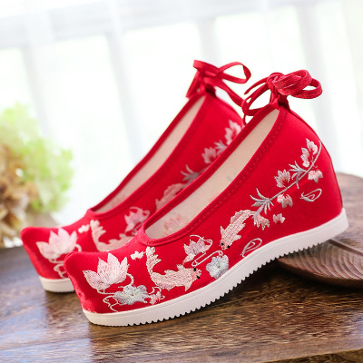 Chinese dress shoes hanfu shoes for women 7cm high-heeled bow shoes ancient embroidered Hanfu shoes, ancient slope shoes