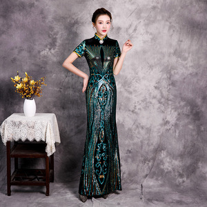 Chinese Dress Qipao for women dress with large print length and Gold Reversible size