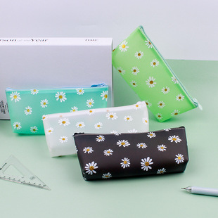 Creative small daisy girl large capacity pencil case simple multifunctional solid color small fresh trapezoidal pencil case stationery box