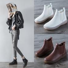 靴子女2020新款复古牛筋软底头层牛皮马丁靴女孕妇大码短靴妈妈鞋