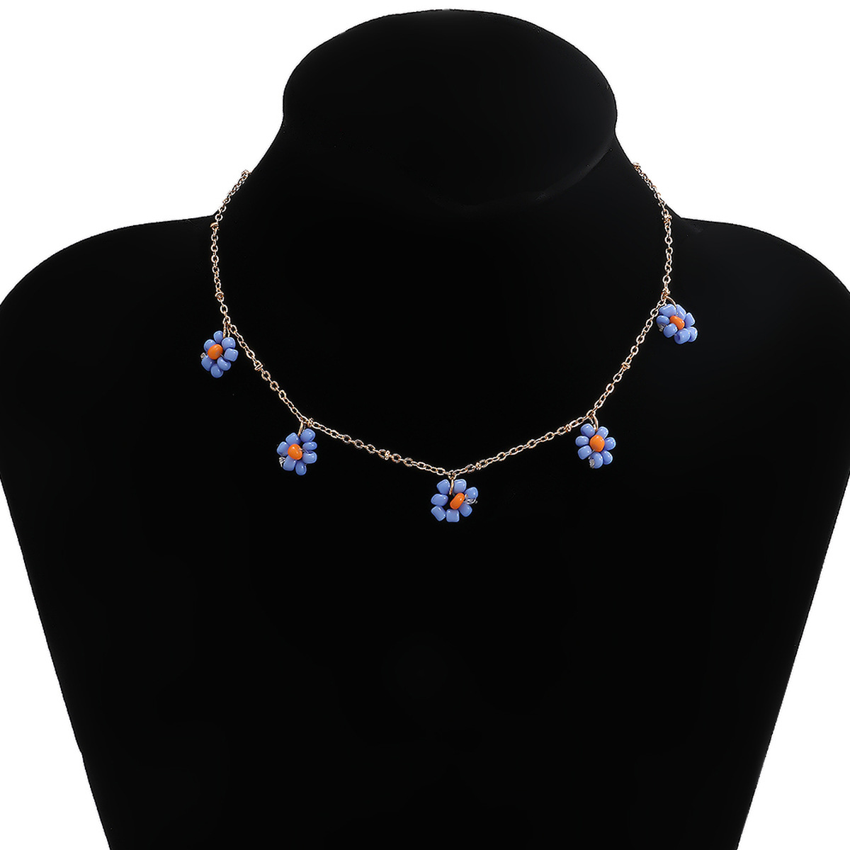 Fashion  retro ethnic style flower simple and stylish rice bead necklace NHXR241863