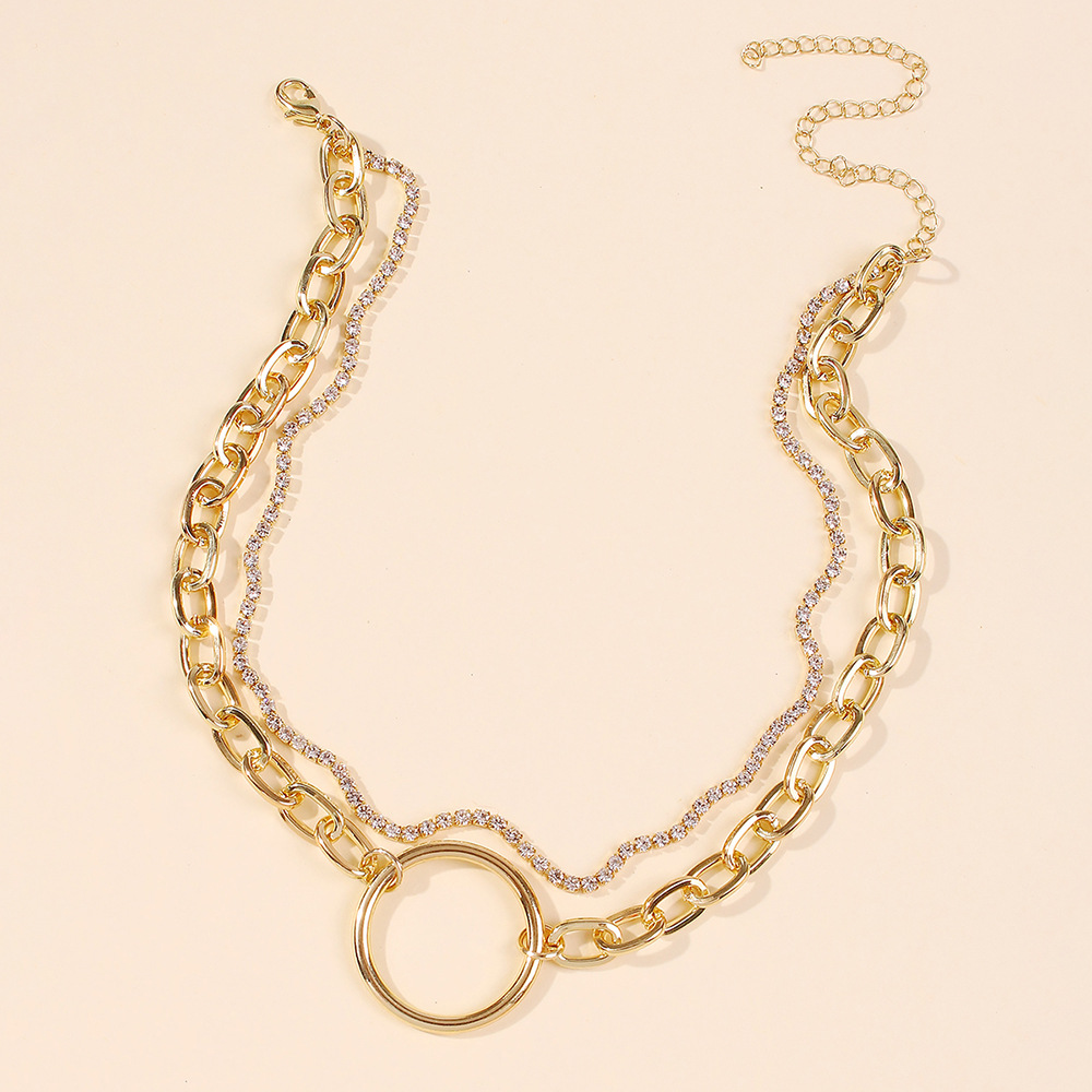 popular jewelry simple creative double alloy circle pendant clavicle chain   nihaojewelry wholesale NHMD215239