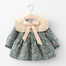外贸童裙2020秋季新款女宝宝时尚女童碎花连衣裙学院风一件代发