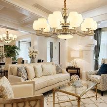 美式全铜吊灯2020新款客厅卧室餐厅欧式云石铜灯大气奢华家用灯具