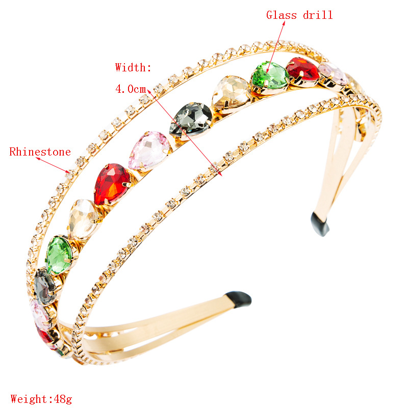 Korean simple alloy multi-layer bangs clip headband fashion color hollow hair band for ladies NHLN247998