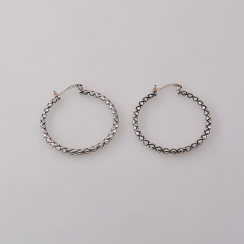 fashion neutral large circle plaid snake pattern big earrings wholesale nihaojewelry NHNT239319