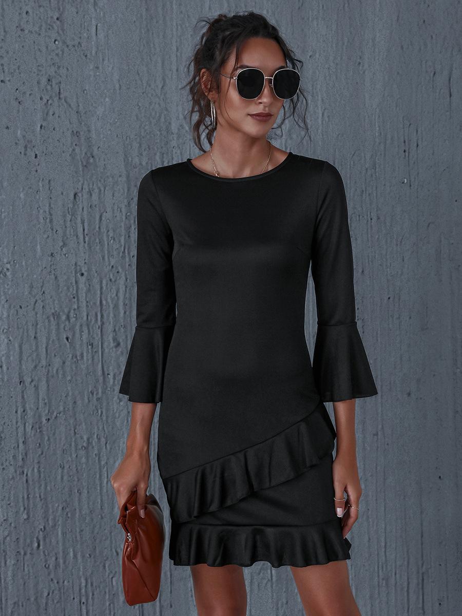 solid color waist mid-length skirt pullover dress NSAL1911