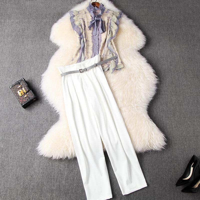 2020春夏女装新款荷叶边印花无袖衬衫+复古高腰哈伦裤套装T10681