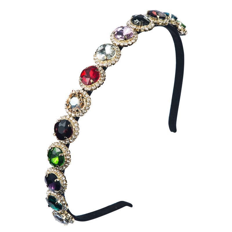 New fashion baroque retro creative hair accessories super flash inlaid colored glass diamond thinedged headband NHLN212994